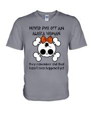 NEVER PISS OFF AN ALASKA WOMAN V-Neck T-Shirt thumbnail