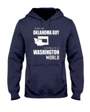 JUST AN OKLAHOMA GUY IN A WASHINGTON WORLD Hooded Sweatshirt front