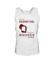 JUST AN ARIZONA GIRL IN A WISCONSIN WORLD Unisex Tank thumbnail