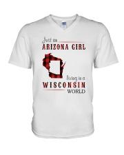 JUST AN ARIZONA GIRL IN A WISCONSIN WORLD V-Neck T-Shirt thumbnail