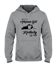JUST AN ARKANSAS GIRL IN A KENTUCKY WORLD Hooded Sweatshirt thumbnail