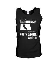 JUST A CALIFORNIA GUY IN A NORTH DAKOTA WORLD Unisex Tank thumbnail