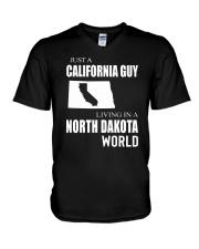 JUST A CALIFORNIA GUY IN A NORTH DAKOTA WORLD V-Neck T-Shirt thumbnail