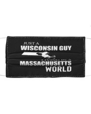 JUST A WISCONSIN GUY IN A MASSACHUSETTS WORLD Cloth face mask thumbnail