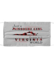 JUST A MISSOURI GIRL IN A VIRGINIA WORLD Cloth face mask thumbnail