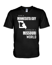 JUST A MINNESOTA GUY IN A MISSOURI WORLD V-Neck T-Shirt thumbnail