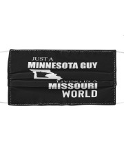 JUST A MINNESOTA GUY IN A MISSOURI WORLD Cloth face mask thumbnail