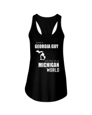 JUST A GEORGIA GUY IN A MICHIGAN WORLD Ladies Flowy Tank thumbnail