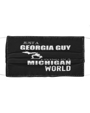 JUST A GEORGIA GUY IN A MICHIGAN WORLD Cloth face mask thumbnail
