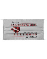 JUST A CALIFORNIA GIRL IN AN ILLINOIS WORLD Cloth face mask thumbnail