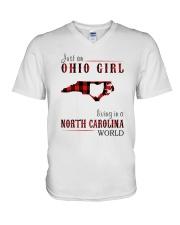 JUST AN OHIO GIRL IN A NORTH CAROLINA WORLD V-Neck T-Shirt thumbnail