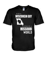 JUST A WISCONSIN GUY IN A MISSOURI WORLD V-Neck T-Shirt thumbnail