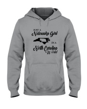 JUST A NEBRASKA GIRL IN A NORTH CAROLINA WORLD Hooded Sweatshirt tile