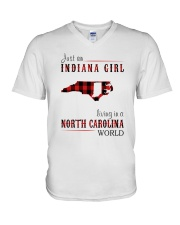 JUST AN INDIANA GIRL IN A NORTH CAROLINA WORLD V-Neck T-Shirt tile