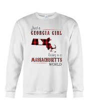 JUST A GEORGIA GIRL IN A MASSACHUSETTS WORLD Crewneck Sweatshirt thumbnail