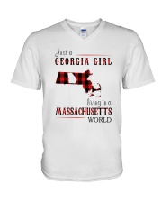 JUST A GEORGIA GIRL IN A MASSACHUSETTS WORLD V-Neck T-Shirt tile