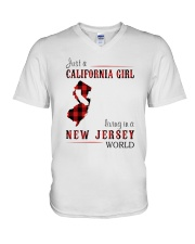 JUST A CALIFORNIA GIRL IN A NEW JERSEY WORLD V-Neck T-Shirt thumbnail