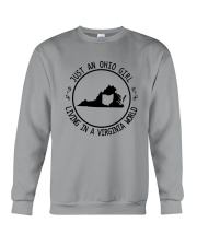 OHIO GIRL LIVING IN VIRGINIA WORLD Crewneck Sweatshirt thumbnail