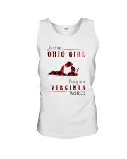 JUST AN OHIO GIRL IN A VIRGINIA WORLD Unisex Tank tile