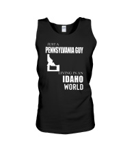 JUST A PENNSYLVANIA GUY IN AN IDAHO WORLD Unisex Tank thumbnail