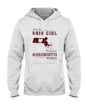 JUST AN OHIO GIRL IN A MASSACHUSETTS WORLD Hooded Sweatshirt front