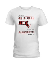 JUST AN OHIO GIRL IN A MASSACHUSETTS WORLD Ladies T-Shirt thumbnail