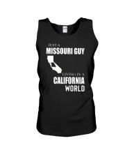 JUST A MISSOURI GUY IN A CALIFORNIA WORLD Unisex Tank thumbnail