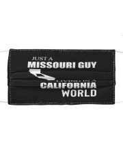 JUST A MISSOURI GUY IN A CALIFORNIA WORLD Cloth face mask thumbnail