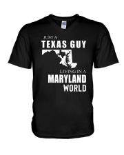 JUST A TEXAS GUY IN A MARYLAND WORLD V-Neck T-Shirt thumbnail