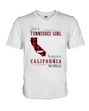 JUST A TENNESSEE GIRL IN A CALIFORNIA WORLD V-Neck T-Shirt thumbnail