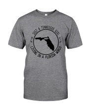TENNESSEE GIRL LIVING IN FLORIDA WORLD Classic T-Shirt tile