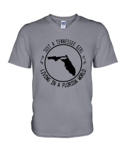 TENNESSEE GIRL LIVING IN FLORIDA WORLD V-Neck T-Shirt thumbnail