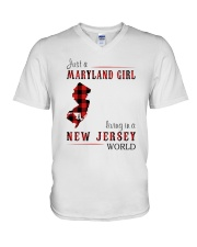 JUST A MARYLAND GIRL IN A NEW JERSEY WORLD V-Neck T-Shirt thumbnail