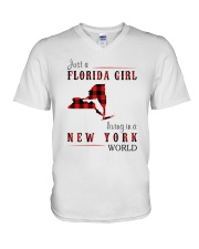 JUST A FLORIDA GIRL IN A NEW YORK WORLD V-Neck T-Shirt thumbnail