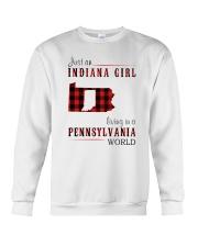 JUST AN INDIANA GIRL IN A PENNSYLVANIA WORLD Crewneck Sweatshirt thumbnail