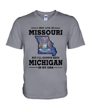 LIVE IN MISSOURI BUT I'LL HAVE MICHIGAN IN MY DNA V-Neck T-Shirt thumbnail