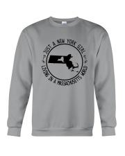 NEW YORK GIRL LIVING IN MASSACHUSETTS WORLD Crewneck Sweatshirt thumbnail