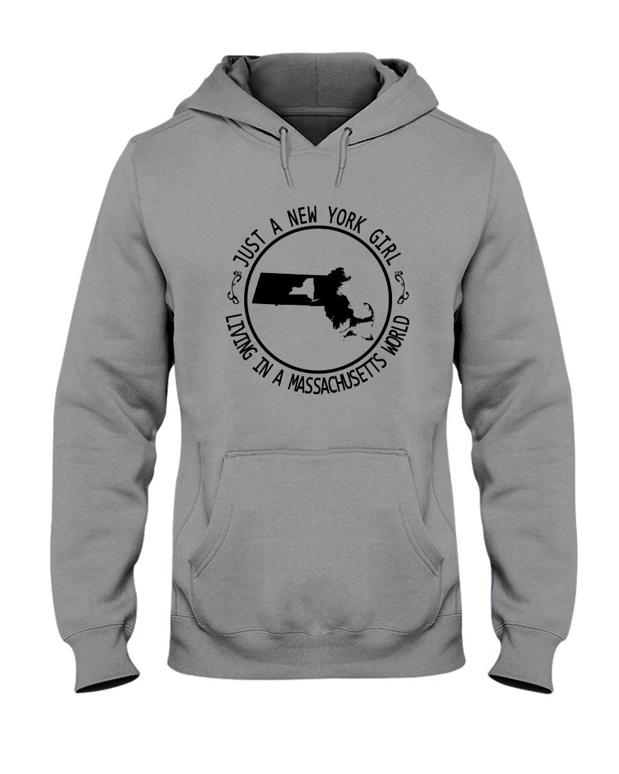 NEW YORK GIRL LIVING IN MASSACHUSETTS WORLD Hooded Sweatshirt