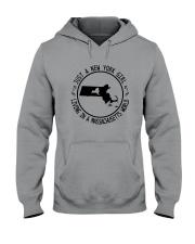NEW YORK GIRL LIVING IN MASSACHUSETTS WORLD Hooded Sweatshirt front