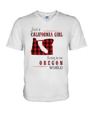 JUST A CALIFORNIA GIRL IN AN OREGON WORLD V-Neck T-Shirt thumbnail
