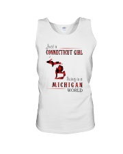 JUST A CONNECTICUT GIRL IN A MICHIGAN WORLD Unisex Tank thumbnail