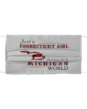 JUST A CONNECTICUT GIRL IN A MICHIGAN WORLD Cloth face mask thumbnail