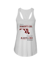JUST A MINNESOTA GIRL IN A MARYLAND WORLD Ladies Flowy Tank thumbnail