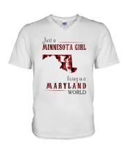 JUST A MINNESOTA GIRL IN A MARYLAND WORLD V-Neck T-Shirt thumbnail