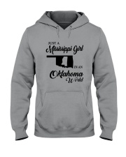 JUST A MISSISSIPPI GIRL IN AN OKLAHOMA WORLD Hooded Sweatshirt thumbnail