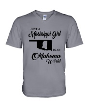 JUST A MISSISSIPPI GIRL IN AN OKLAHOMA WORLD V-Neck T-Shirt tile