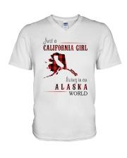 JUST A CALIFORNIA GIRL IN AN ALASKA WORLD V-Neck T-Shirt thumbnail