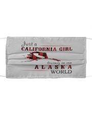 JUST A CALIFORNIA GIRL IN AN ALASKA WORLD Cloth face mask thumbnail