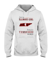 JUST AN ILLINOIS GIRL IN A TENNESSEE WORLD Hooded Sweatshirt front