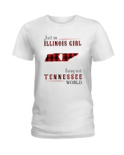 JUST AN ILLINOIS GIRL IN A TENNESSEE WORLD Ladies T-Shirt thumbnail